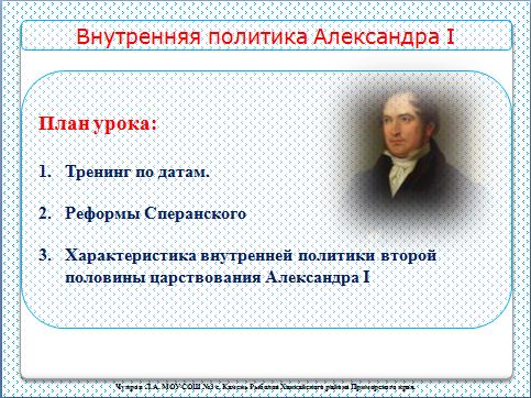 "Презентация к уроку истории ""Внутренняя политика второй половины царствования Александра I"" - Презентации по истории"
